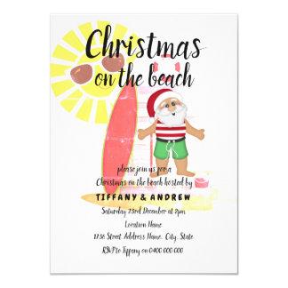 Weihnachten auf dem Strand-Sommer-Sankt-Party Karte
