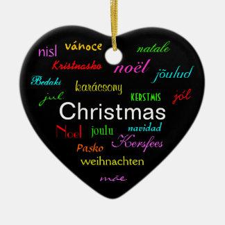 Weihnachten auf der ganzen Welt in Schwarzem III Keramik Herz-Ornament
