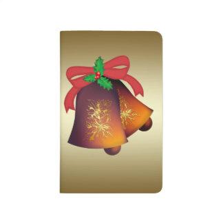 Weihnachten Bell auf Gold Taschennotizbuch