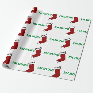 Weihnachten bin ich gehangenes lustiges geschenkpapierrolle
