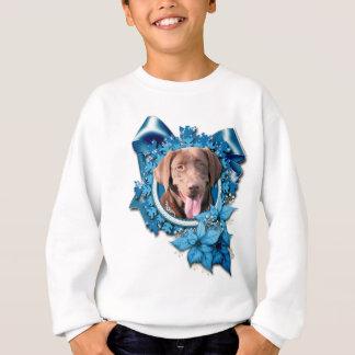 Weihnachten - blaue Schneeflocke - Labrador - Sweatshirt