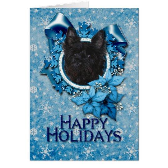 Weihnachten - blaue Schneeflocke - Steinhaufen Grußkarte