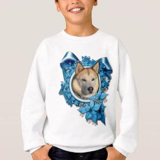 Weihnachten - blaue Schneeflocken - sibirischer Sweatshirt