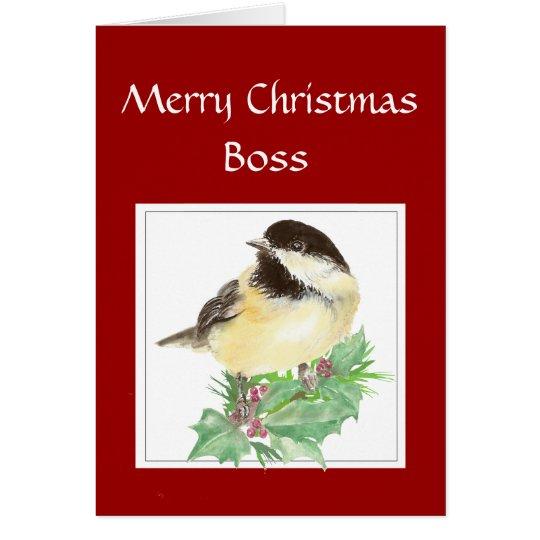 Weihnachten, Chef, vom Gruppechickadee-Vogel Grußkarte