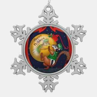 Weihnachten-CHIPMUNK Schneeflocke-gerahmte Schneeflocken Zinn-Ornament