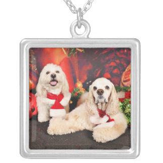 Weihnachten - Cockerspaniel - Toby, Havanese - Halskette Mit Quadratischem Anhänger