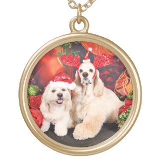 Weihnachten - Cockerspaniel - Toby, Havanese - Halskette Mit Rundem Anhänger