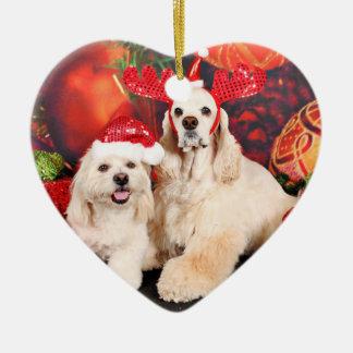 Weihnachten - Cockerspaniel - Toby, Havanese - Keramik Herz-Ornament