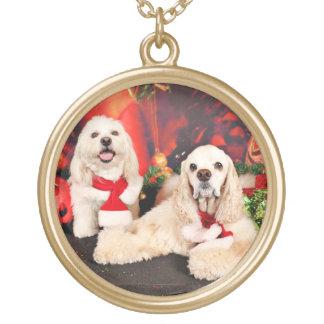 Weihnachten - Cockerspaniel - Toby, Havanese - Vergoldete Kette