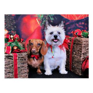 Weihnachten - DackelButch - Cairn Stella Postkarte