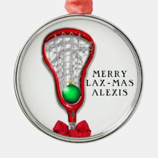 Weihnachten der Lacrosse der Frauen Rundes Silberfarbenes Ornament