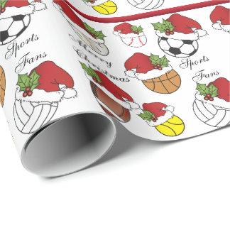 Weihnachten der Mannschaftsspieler-Sport-Ball-| Geschenkpapier
