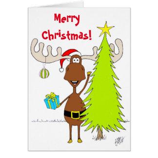 Weihnachten: Elche (glücklich) Grußkarte