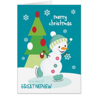 Weihnachten für großen Neffe-Eis-SkatenSnowman Karte