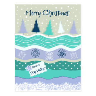 Weihnachten für Hundewanderer-Schneeflocken Postkarte