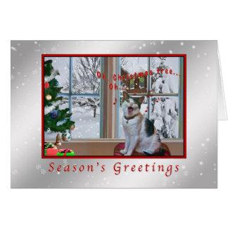 Weihnachten, Gesang-Katze, Schnee Karte