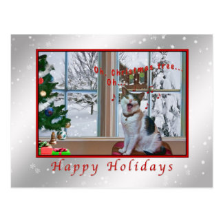 Weihnachten, Gesang-Katze, Schnee Postkarte