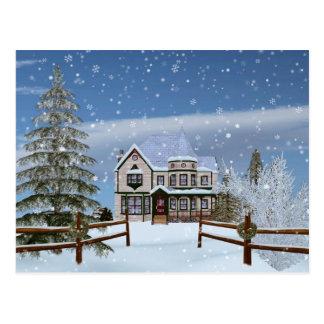 Weihnachten, Haus in der Snowy-Winter-Szene Postkarte