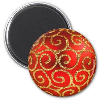 Weihnachten im Rot und im Gold Runder Magnet 5,7 Cm