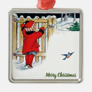 Weihnachten - kleines Mädchen im Rot Silbernes Ornament