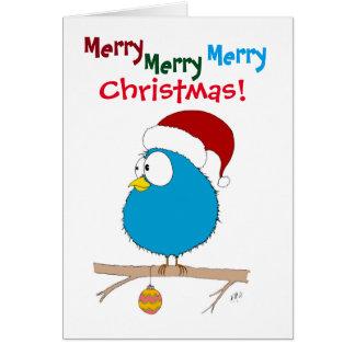 Weihnachten: Lustiger Vogel (blau) Grußkarte