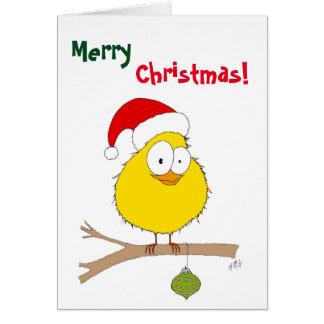 Weihnachten: Lustiger Vogel (Gelb) Grußkarte