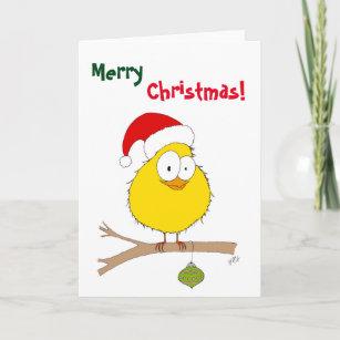 Weihnachten: Lustiger Vogel (Gelb) Weihnachtskarte