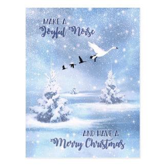 Weihnachten machen ein frohe Geräusch-Schnee-Gänse Postkarte