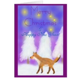 Weihnachten mit einem Fuchs, Sternen u. Grußkarte
