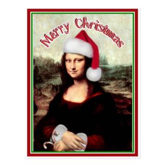 Weihnachten Mona Lisa mit Weihnachtsmannmütze Postkarte