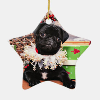 Weihnachten - Mops - Gänseblümchen Mae Keramik Ornament