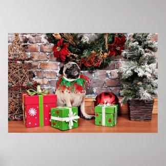 Weihnachten - Mops - Lilie Lou Poster