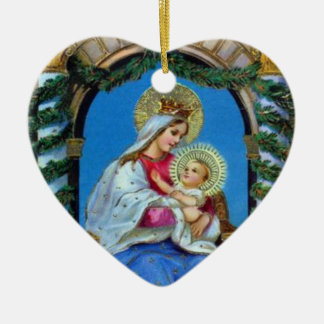 Weihnachten - Mutter Mary und Jesus Keramik Ornament