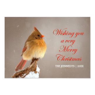 Weihnachten - NordKardinal auf schneebedeckter 12,7 X 17,8 Cm Einladungskarte