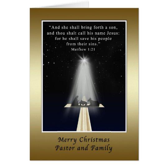 Weihnachten, Pastor und Familie, religiös Grußkarte
