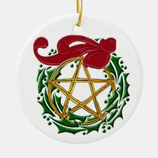 Weihnachten-Pentagramm, Wreath u. roter Bogen - Keramik Ornament