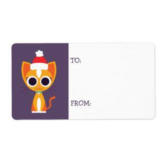 Weihnachten Purrl die Katze Versandetikett