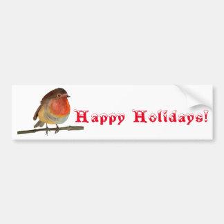 Weihnachten Robin im Aquarell - frohe Feiertage Autoaufkleber