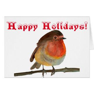 Weihnachten Robin im Aquarell - frohe Feiertage Karte