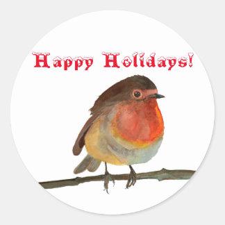 Weihnachten Robin im Aquarell - frohe Feiertage Runder Aufkleber