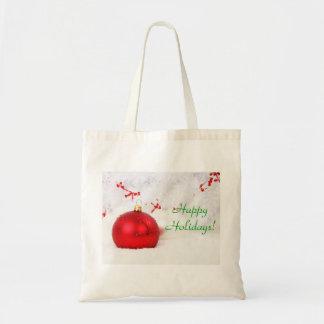 Weihnachten rot und Weiß frohe Feiertage ich Leinentasche