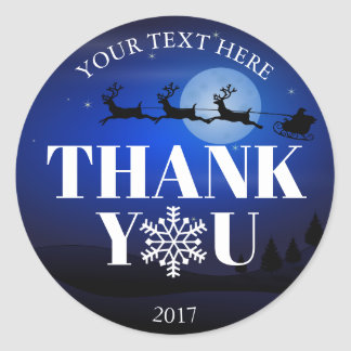 Christmas Santa Thank You Snowflakes Blue White