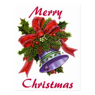 Weihnachten silberne Bell Postkarte