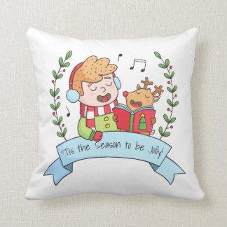 Weihnachten singt Jungen-und Ren-Wurfs-Kissen Kissen