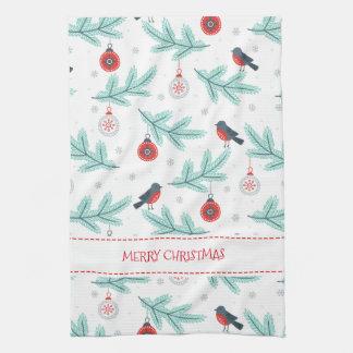 Weihnachten verziert Vögel u. Winter-Laub-Muster Geschirrtuch
