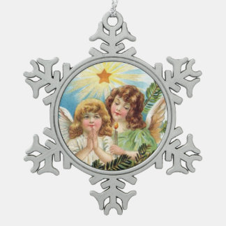 Weihnachten - zwei Engelchen Schneeflocken Zinn-Ornament