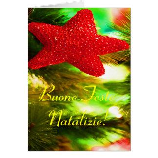 WeihnachtenBuone Feste Natalizie roter Stern I Grußkarte
