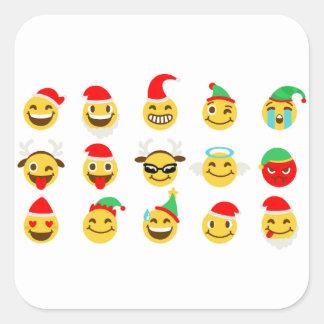 Weihnachtenemoji glückliche Gesichter Quadratischer Aufkleber