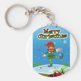 Weihnachtenflashcard mit Sankt und Verzierungen Schlüsselanhänger