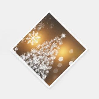 Weihnachtengoldener Bokeh Schneeflocke-Baum Serviette